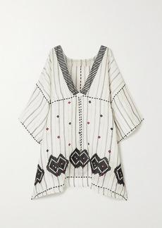 Eres Brigitta Embroidered Striped Linen And Cotton-blend Kaftan