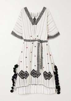 Eres Clara Tasseled Embroidered Striped Linen And Cotton-blend Kaftan