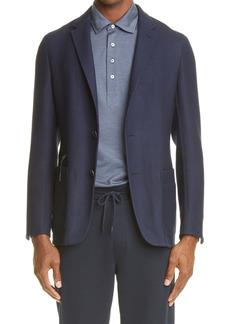 Ermenegildo Zegna Crossover Wool, Silk & Linen Hooded Sport Coat