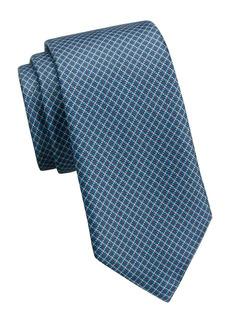 Ermenegildo Zegna Grid-Print Silk Tie