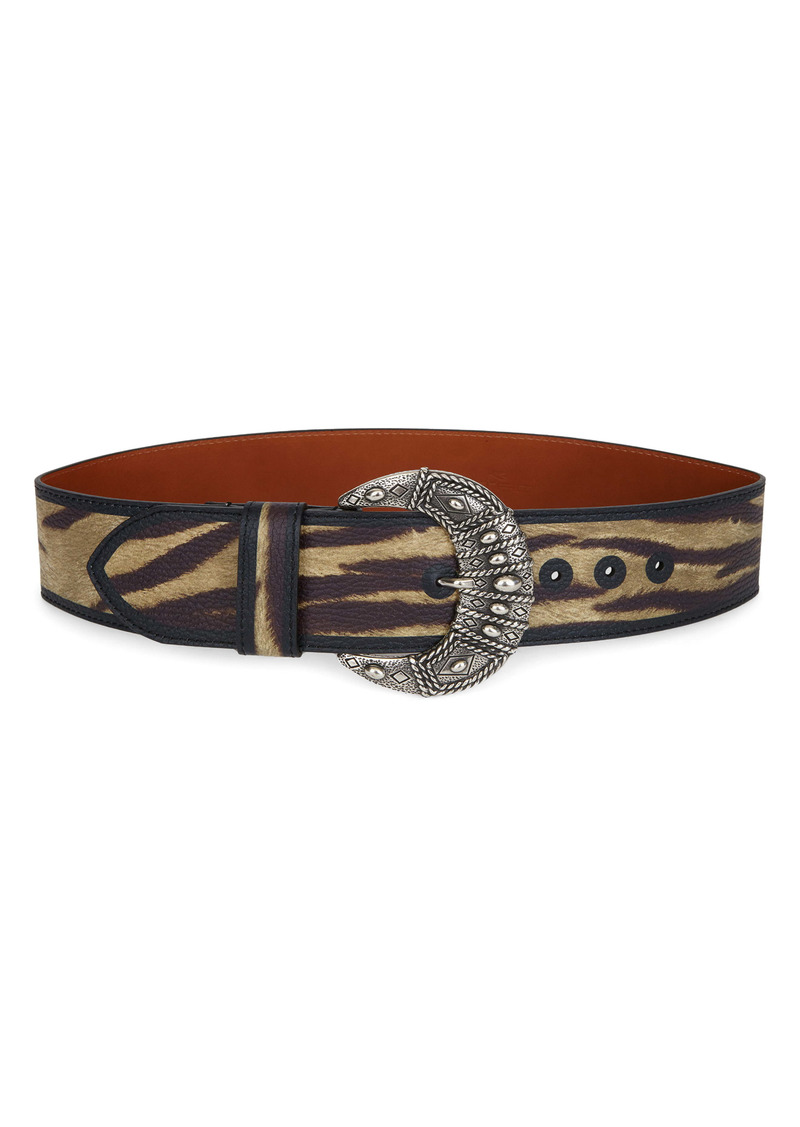 Etro Animal Print Leather Belt