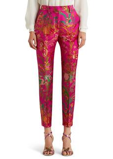 Etro Bristol Floral Skinny Crop Brocade Trousers