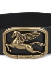 Etro Logo Buckle Leather Belt