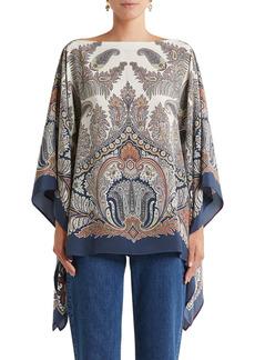 Etro Paisley Silk Poncho Blouse