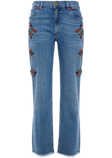 Etro Woman Frayed Studded High-rise Straight-leg Jeans Mid Denim