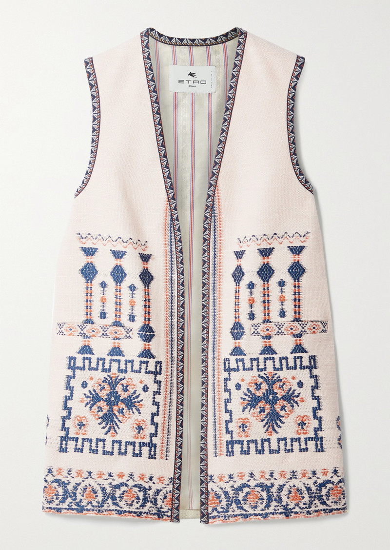 Etro Jacquard-trimmed Embroidered Wool-blend Vest