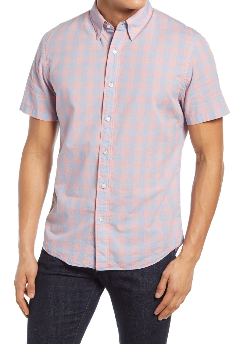 Faherty Movement Regular Fit Check Short Sleeve Button-Up Shirt