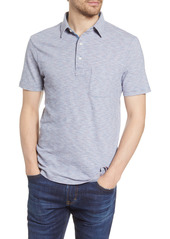 Faherty Pinstripe Short Sleeve Pocket Polo