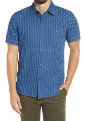 Faherty Playa Geo Pattern Short Sleeve Button-Up Shirt