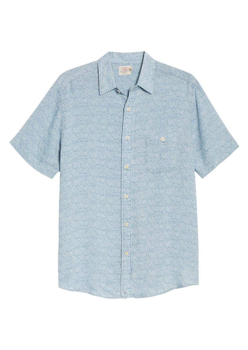 Faherty Playa Short Sleeve Button-Up Floral Shirt