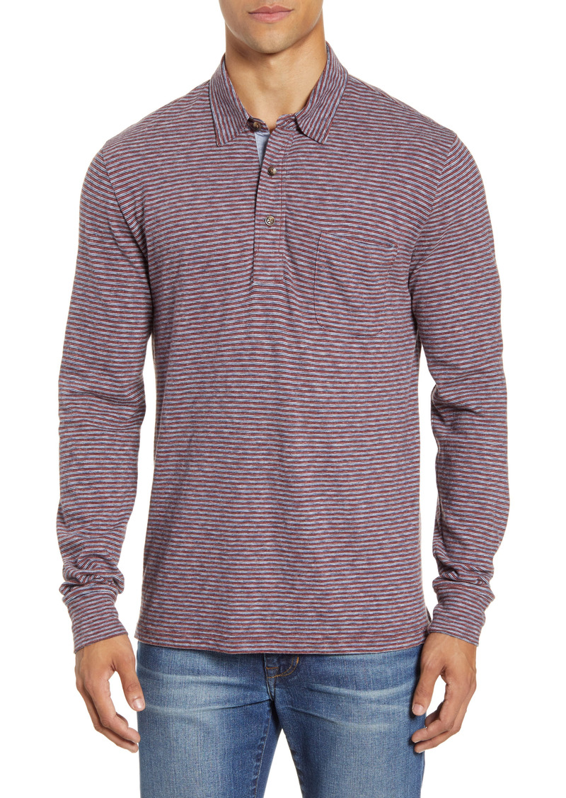 Faherty Luxe Regular Fit Stripe Long Sleeve Polo Shirt