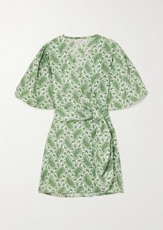 Faithfull the Brand Net Sustain Godiva Paisley-print Linen Mini Wrap Dress
