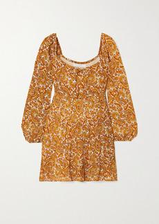 Faithfull the Brand Net Sustain Indira Tie-detailed Paisley-print Chiffon Mini Dress