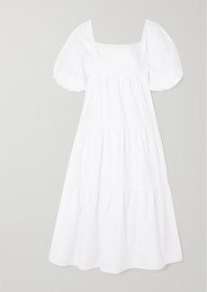 Faithfull the Brand Net Sustain Kiona Tiered Cotton-poplin Midi Dress