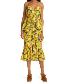 FARM Rio Fresh Lemons Peplum Midi Dress