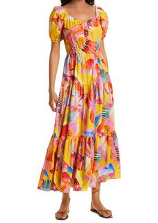 FARM Rio Neon Macaws Puff Sleeve Cotton Maxi Dress