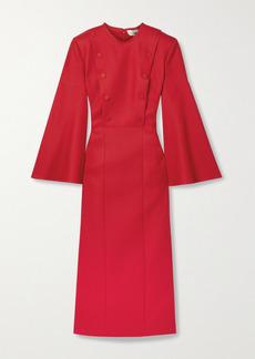 Fendi Button-embellished Wool-blend Crepe Midi Dress