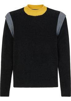 Fendi contrast-shoulder rib-knit jumper