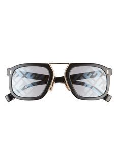 Fendi 53mm Print Rectangle Sunglasses