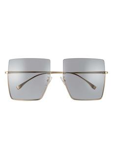 Fendi 60mm Semi Rimless Square Sunglasses