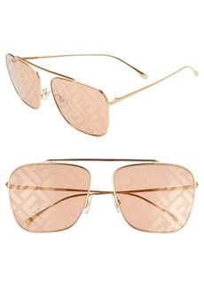 Fendi 61mm Lenticular Lens Navigator Sunglasses