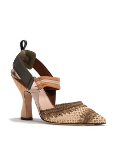 Fendi Colibri Woven Pointed Toe Slingback Pump (Women)
