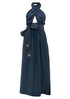 Fendi Crossover halterneck silk maxi dress