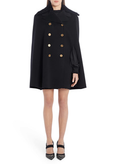 Fendi Double Breasted Wool & Silk Cape with Genuine Mink Fur Collar