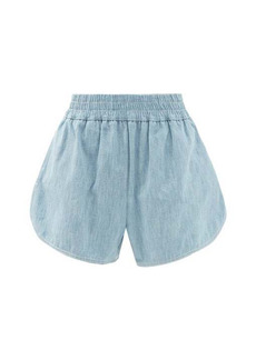 Fendi FF-embroidered cotton-chambray shorts