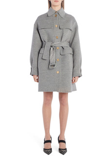 Fendi FF Logo Belted Fleece Wool & Silk Coat