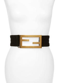 Fendi FF Logo Buckle Wide Smocked Velvet Belt