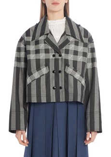 Fendi FF Logo Check & Stripe Jacquard Hooded Crop Jacket