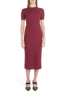 Fendi FF Logo Jacquard Midi Sweater Dress