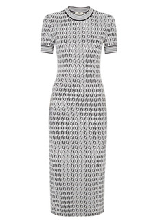 Fendi FF Logo Jersey Sheath Midi Dress