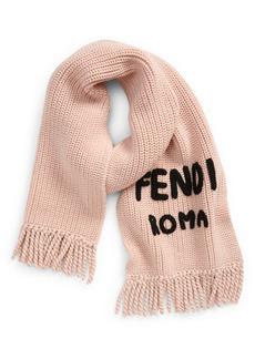 Fendi Knit Logo Wool Scarf