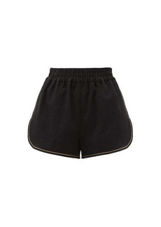 Fendi Logo-embroidered topstitched cotton-blend shorts