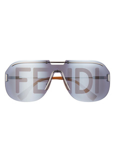 Fendi Logo Print 99mm Shield Sunglasses