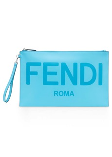 Fendi Logo Zip Leather Wristlet