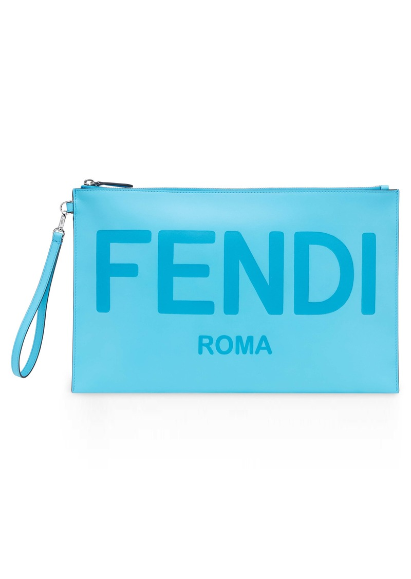 Fendi Logo Zip Leather Wristlet