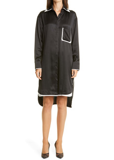 Fendi Long Sleeve Silk & Leather Shirtdress