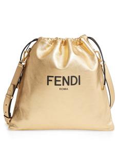 Fendi Medium Logo Drawstring Leather Bag