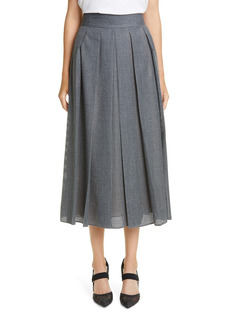 Fendi Perforated Pleated Wool Skirt