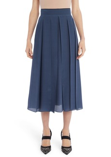 Fendi Pleated Microdot Print Silk Crêpe de Chine Midi Skirt