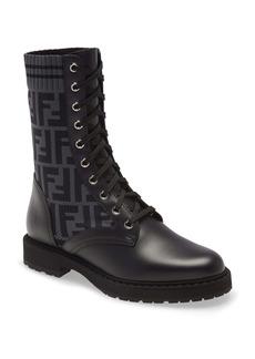 Fendi Rockoko Logo Sock Lace-Up Combat Boot (Women)
