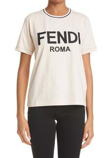 Fendi Roma Logo Appliqué Women's Graphic Tee