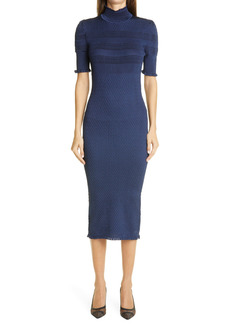 Fendi Ruffle Trim Smocked Silk Blend Body Con Dress