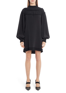 Fendi Ruffle Yoke Long Sleeve Silk Crêpe de Chine Minidress