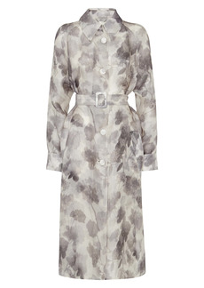 Fendi Shady Flowers Silk Organza Long Coat