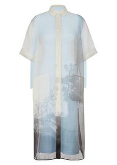 Fendi Shady Window Silk Organza Shirtdress