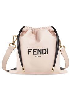 Fendi Small Logo Leather Drawstring Bag
